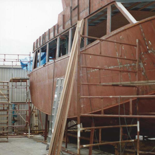 A custom built boat named The Royal Scot under construction
